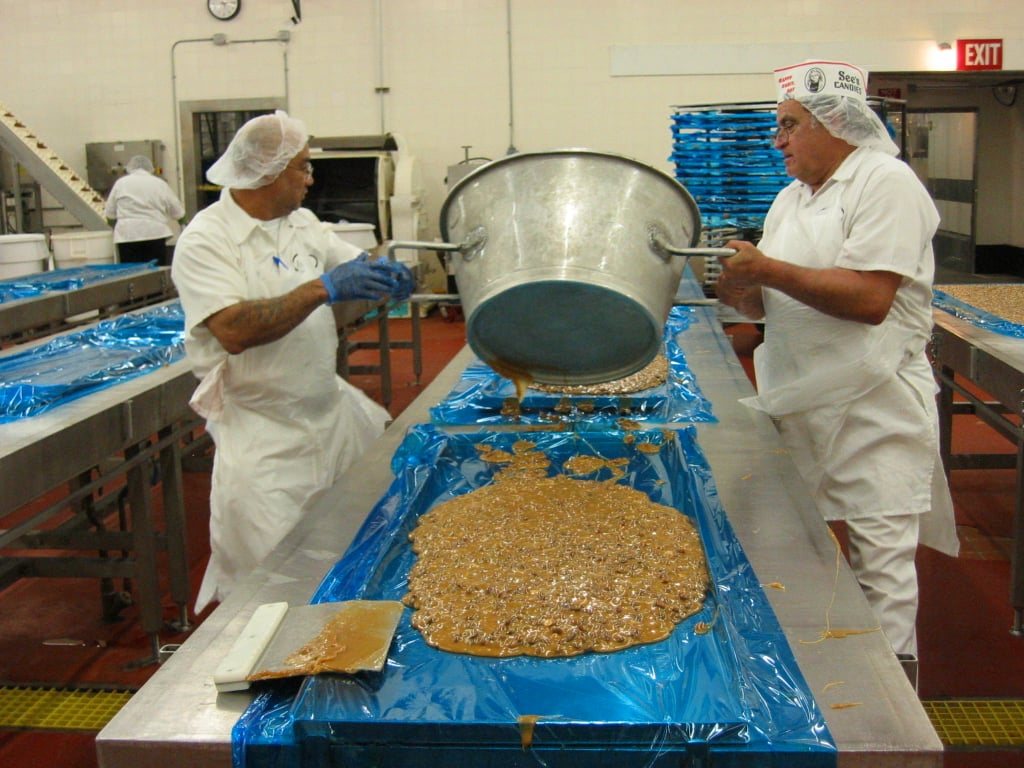 Pouring Peanut Brittle