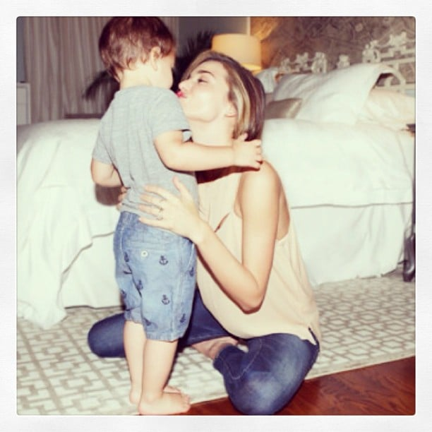 Miranda Kerr gave her son, Flynn, a kiss. Source: Instagram user mirandakerr