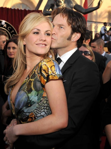 Stephen Moyer snuck a kiss on Anna Paquin's cheek at the Screen Actors Guild Awards in January 2010.