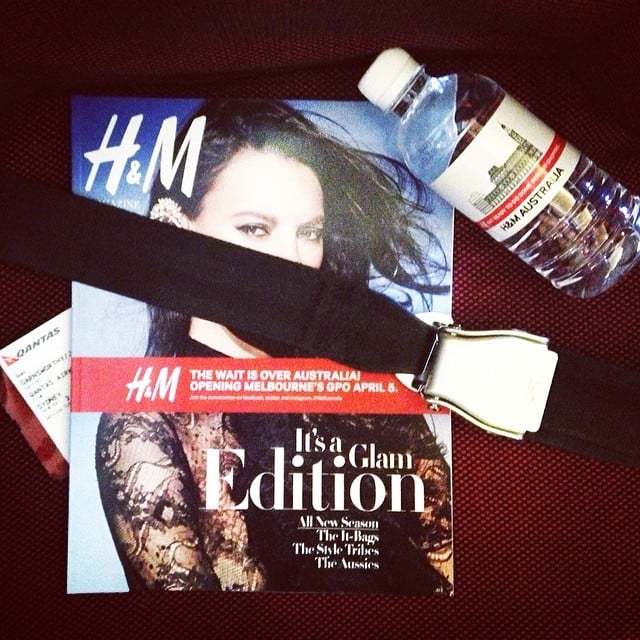 Strapped in and ready to go! Fashion editor Jasmine and publisher Alison had their in-flight entertainment sorted as they made their way to Melbourne for H&M's launch party.