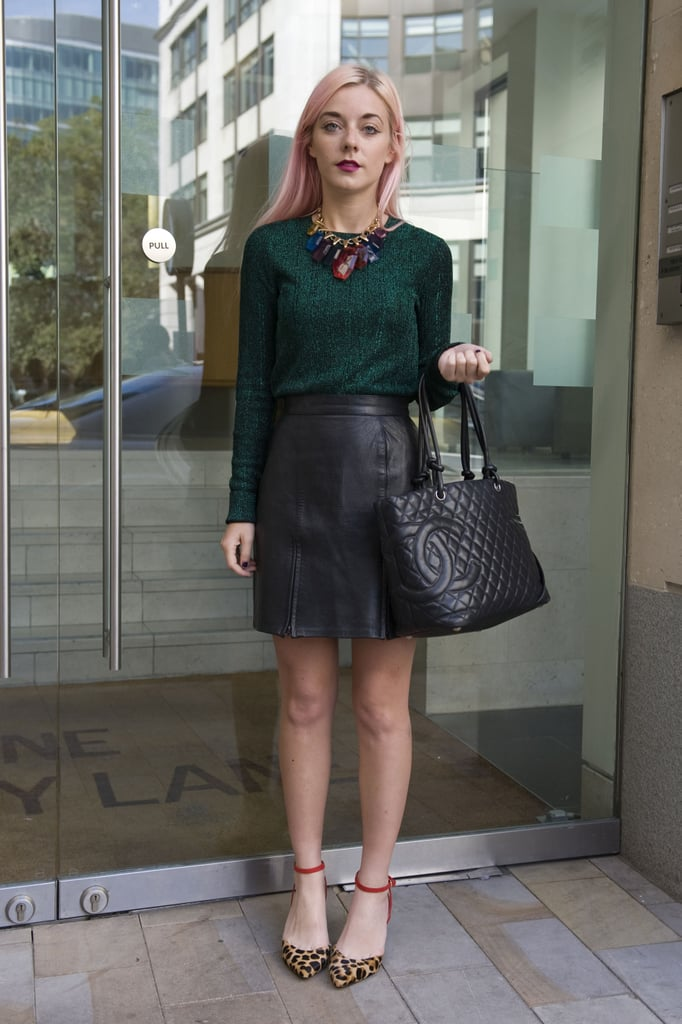 A gorgeous jewel-toned topper, leather skirt, and leopard-print pumps made for one cool, ladylike-with-a-twist look.
