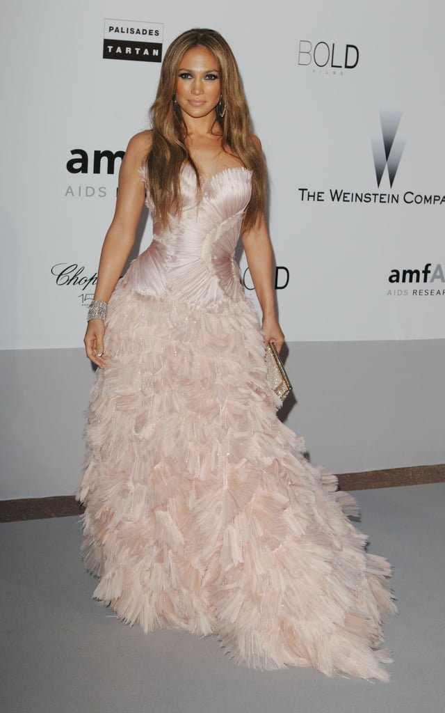 Jennifer Lopez wore a pink Roberto Cavalli gown to the amfAR Cinema Against AIDS gala in 2010.