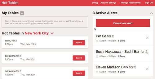 OpenTable Launches Alerts for Impossible Reservations