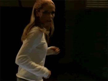 Here's Buffy's kick — and this is just some light sparring.