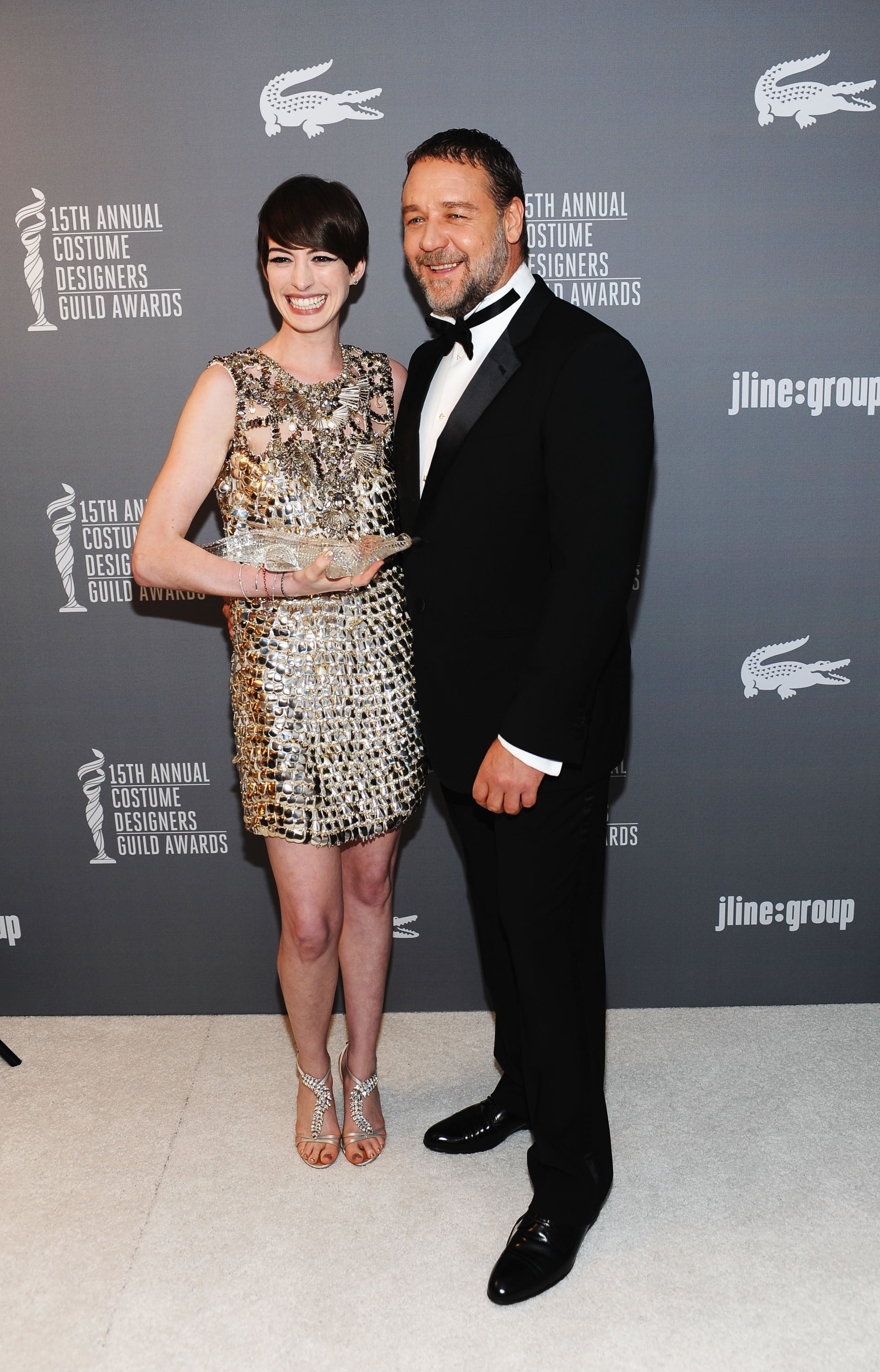 Anne Hathaway laughed with Russell Crowe in the green room.