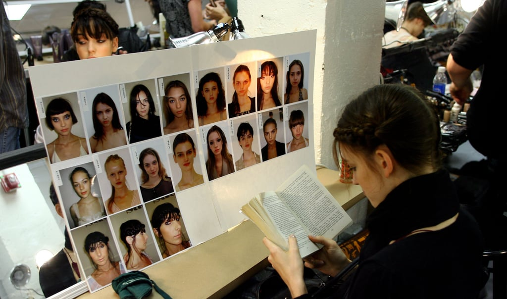 This model found her reading spot amidst the prep backstage for the Sue Stemp Spring 2007 fashion show during Olympus Fashion Week.