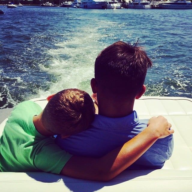 Joaquin and Michael Consuelos demonstrated how brotherly love actually looks while relaxing in the Hamptons. Source: Instagram user kellyripa