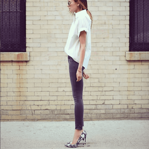 All about proportions — forget the traditional white button-down and add a boxier one to skinny ankle-crop pants. Then make a splash with your footwear.  Source: Instagram user weworewhat