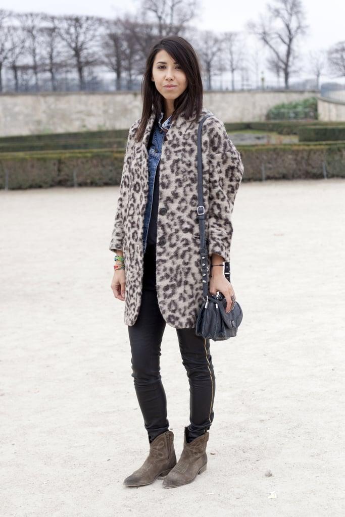A leopard-print coat dresses up basics.