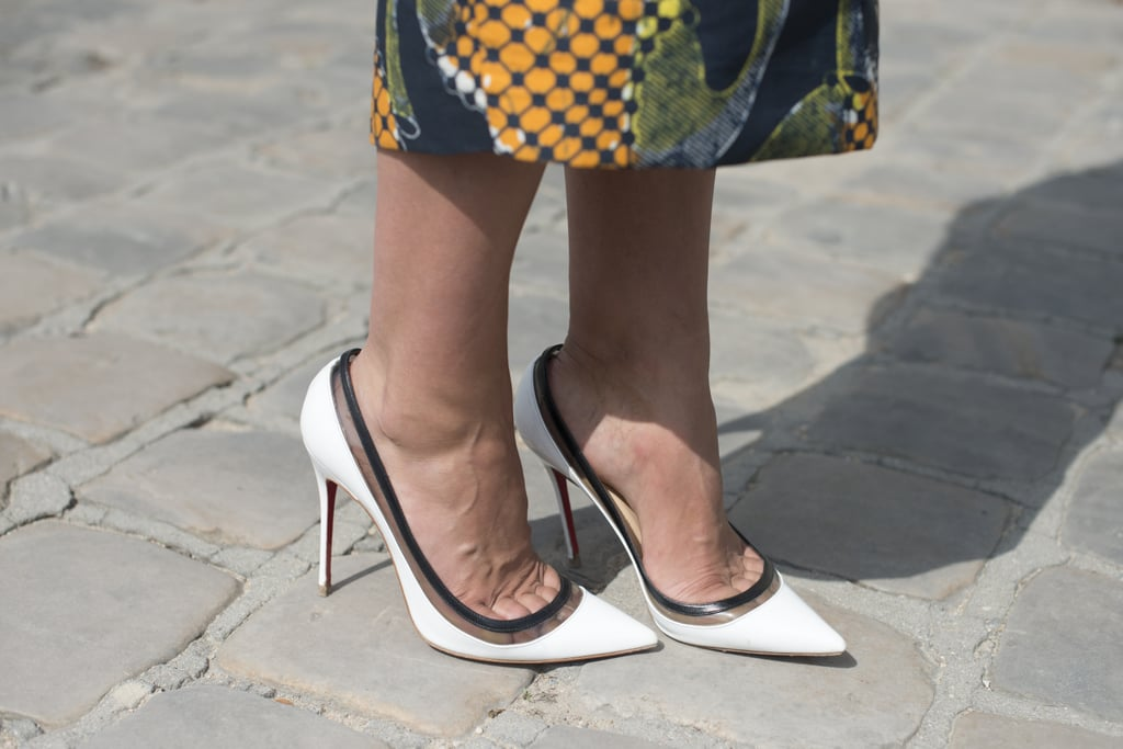 A sleek pair of heels countered a bold-printed skirt — now that's a balancing act.