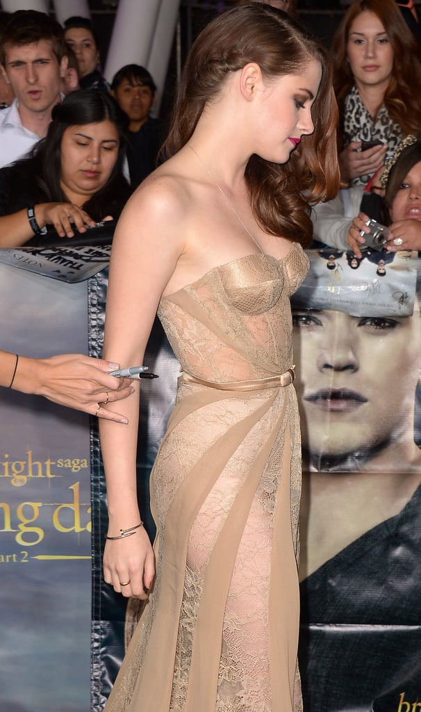 From this angle, you can see just how see-through her dress is. With that said, you never see too much.
