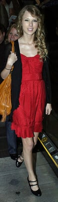 Taylor Swift Wears Red Marc by Marc Jacobs Dress