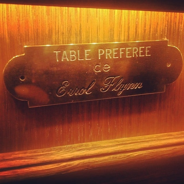 A little piece of movie history: at Cannes's oldest restaurant, L'Auberge Provencale, we were seated at legendary film actor Errol Flynn's favorite table.