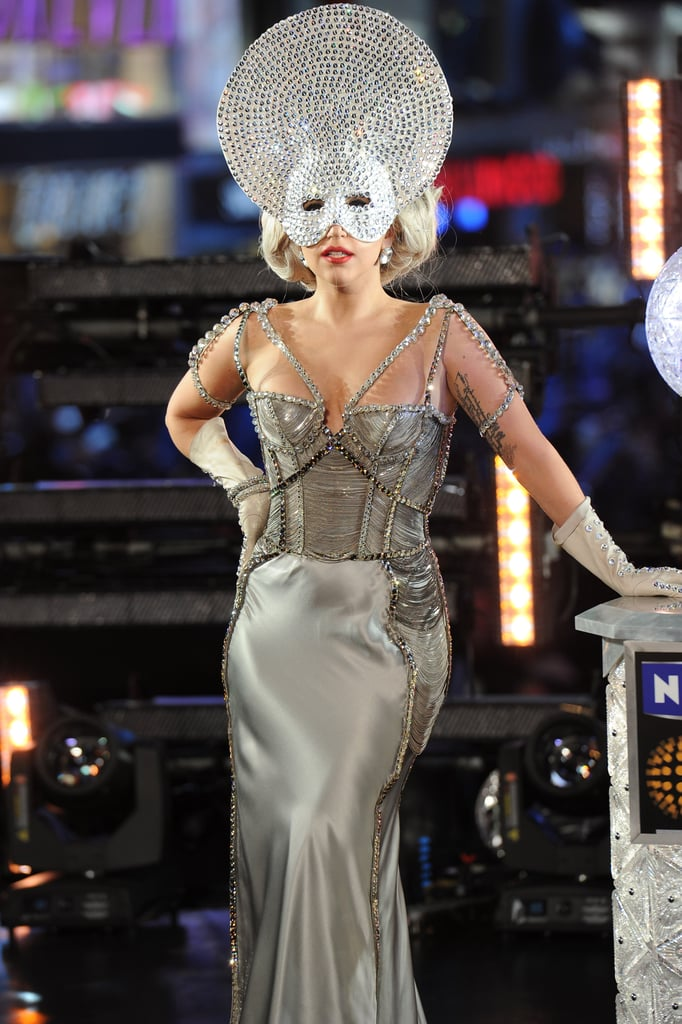 Lady Gaga in Embellished Mask For New Year's Eve 2012