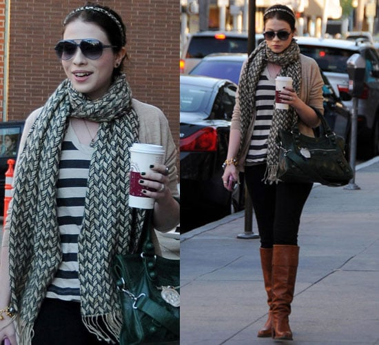 Photos of Michelle Trachtenberg in Striped Shirt and Boots at Coffee Bean in LA