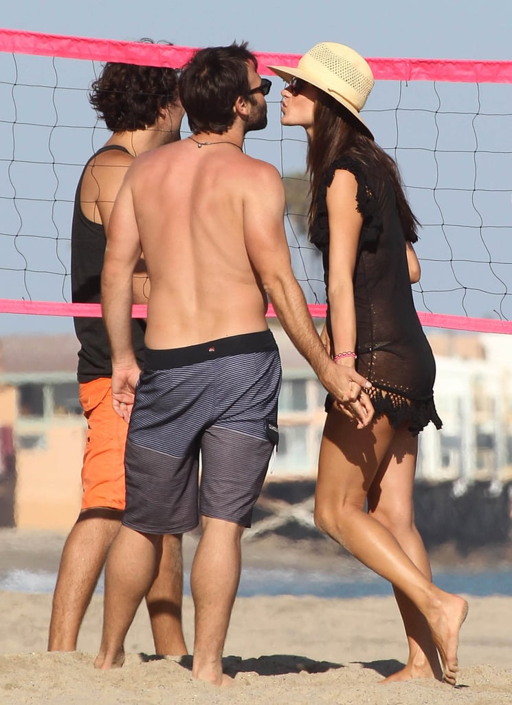 Alessandra Ambrosio and Jamie Mazur shared a sweet moment during a July 2012 beach day in Malibu, CA.