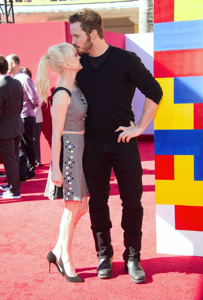 Chris gave Anna the sweetest kiss when they arrived at the LA premiere of The Lego Movie in February 2014.