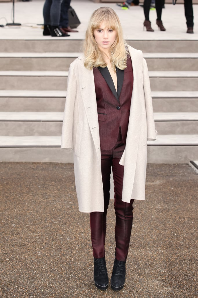 Suki Waterhouse took cues from the boys when she picked this wardrobe win at the Burberry Prorsum menswear Autumn Winter 2014 show.
