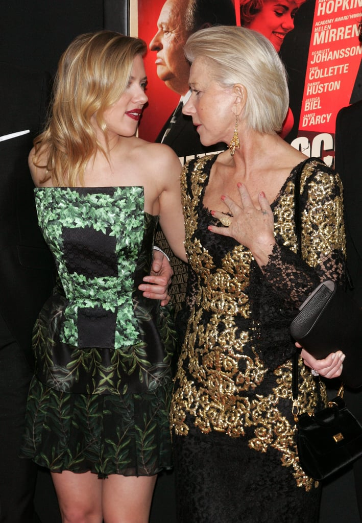 Helen Mirren and Scarlett Johansson chatted on the red carpet in NYC.