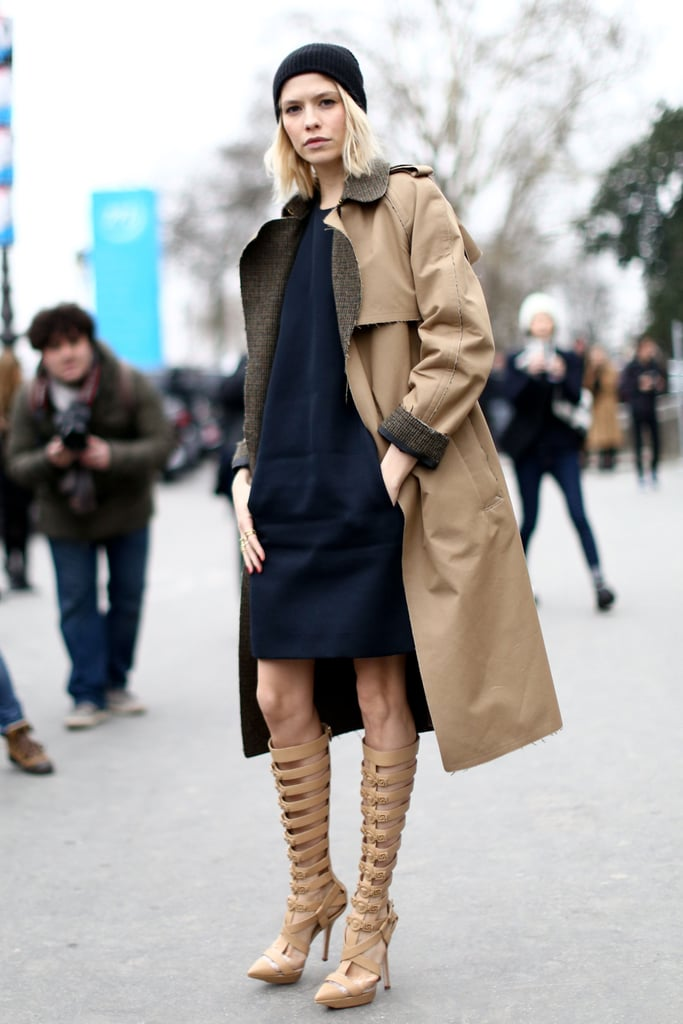 High-impact heels were bold, but played off her camel-colored outerwear.
