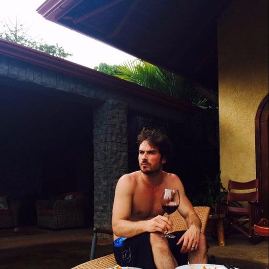 Ian Somerhalder Drinks Wine While Shirtless in New Honeymoon Photo
