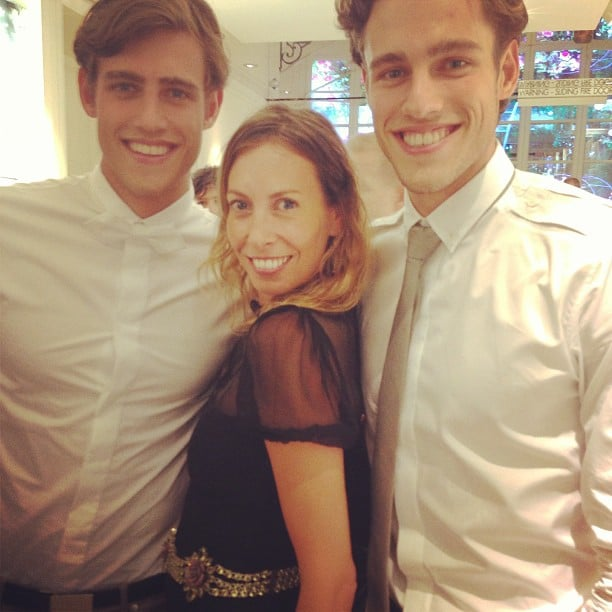 Stylist Romy Frydman snuggled up to the Stenmark twins at the Christian Dior opening in Sydney. Source: Instagram user stylemeromy