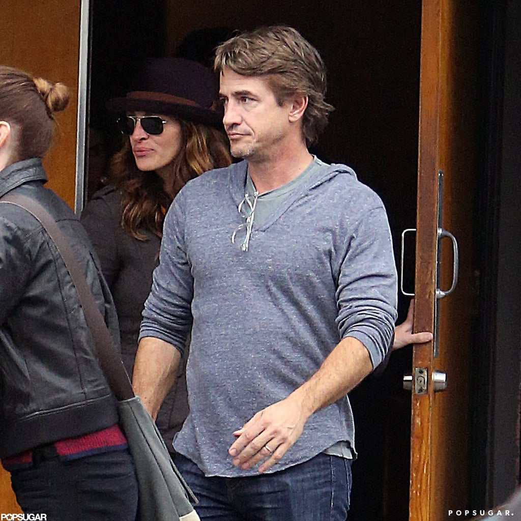 Dermot Mulroney dressed casual on a rainy day in LA.