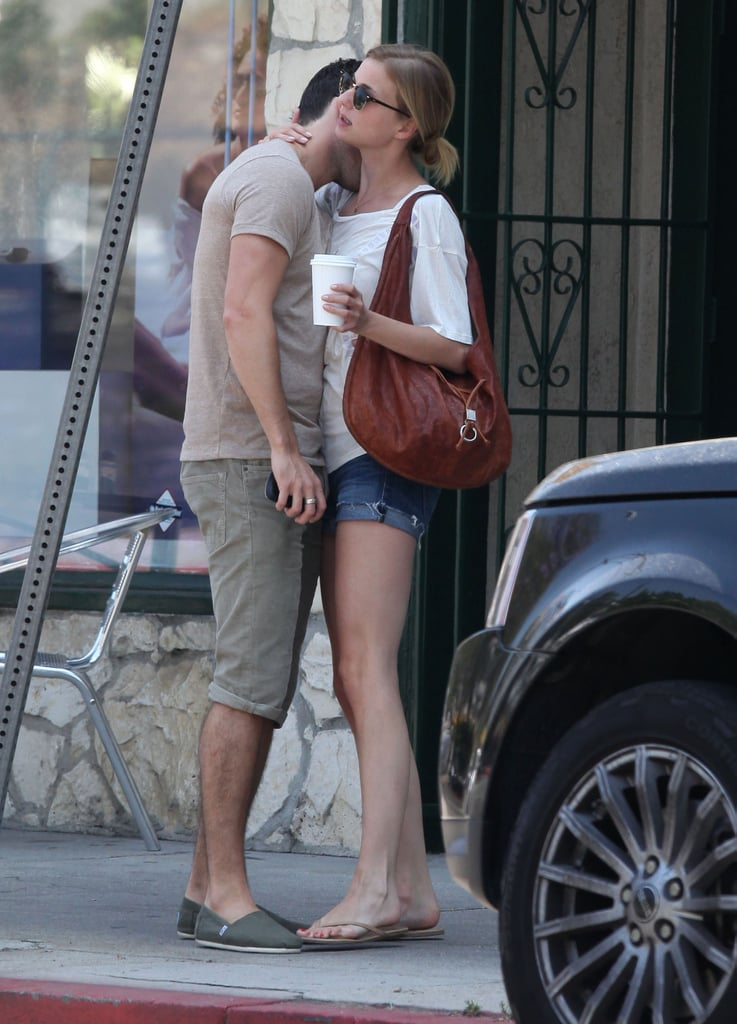 Emily VanCamp and Joshua Bowman showed their affection outside of brunch in LA.