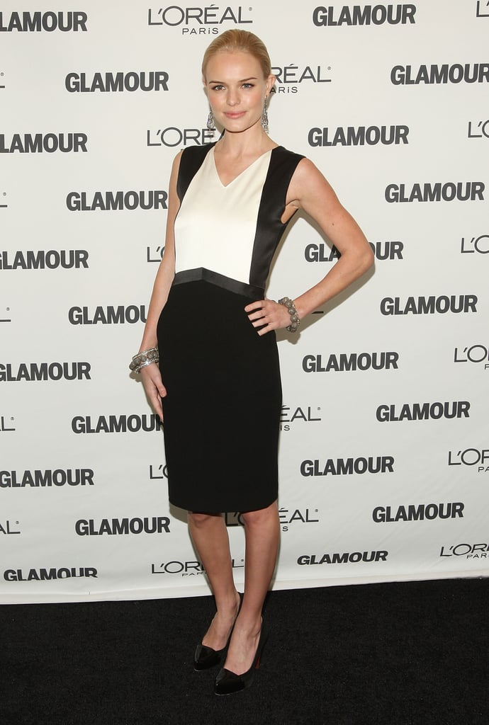 For the 2008 Glamour Women of the Year Awards, Kate Bosworth kept it classic in a black-and-white colour-blocked sheath, patent pumps, and a few marcasite bracelets.