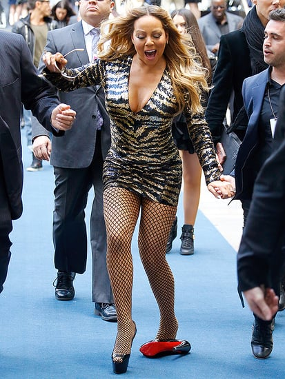 Mariah Carey Loses a Shoe - and Her Balance! - Nearly Falling on the NBC Upfront Red Carpet