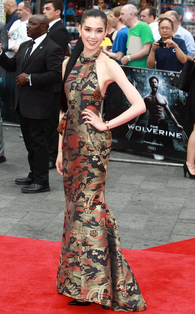 At the UK premiere of The Wolverine, Tao Okamoto made a dramatic entrance in her brocade Miharayasuhiro halter gown.