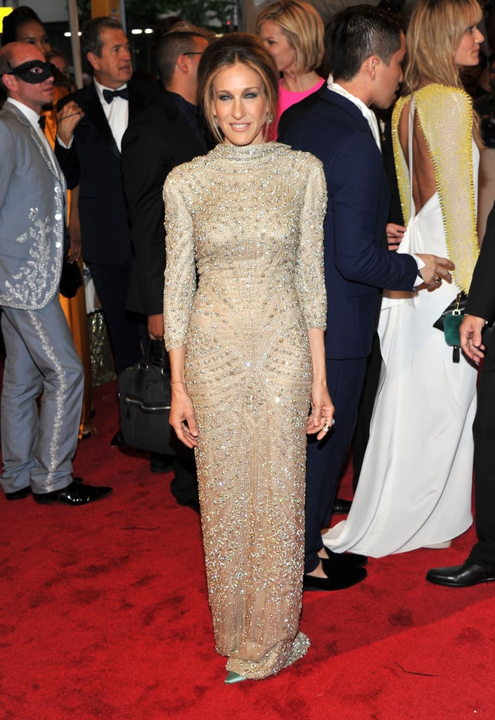 Parker wowed in a beaded Alexander McQueen gown, square-toe pumps, and a chic chignon at the 2011 Costume Institute Gala in NYC.