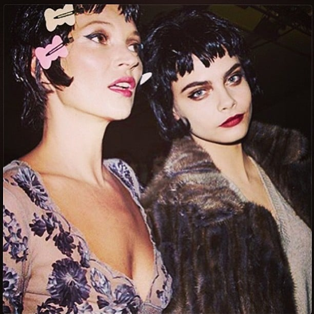 From one generation of supermodel to the next, Kate Moss and Cara prepped backstage at Louis Vuitton. Source: Instagram user caradelevingne