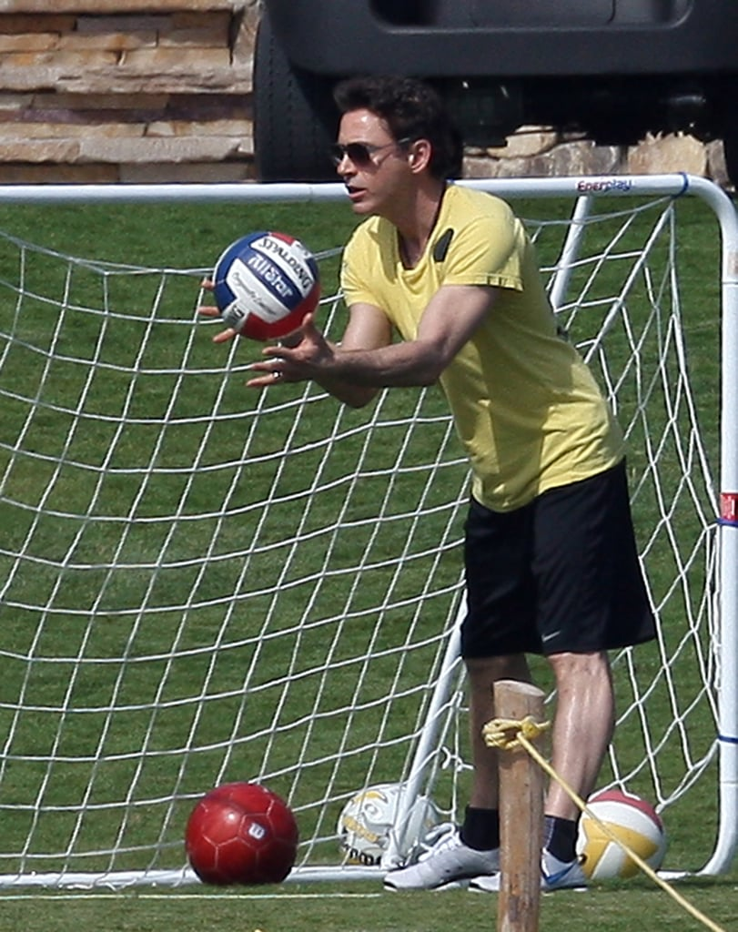 Robert Downey Jr. spent some of his February 2009 trip playing soccer in the sun.