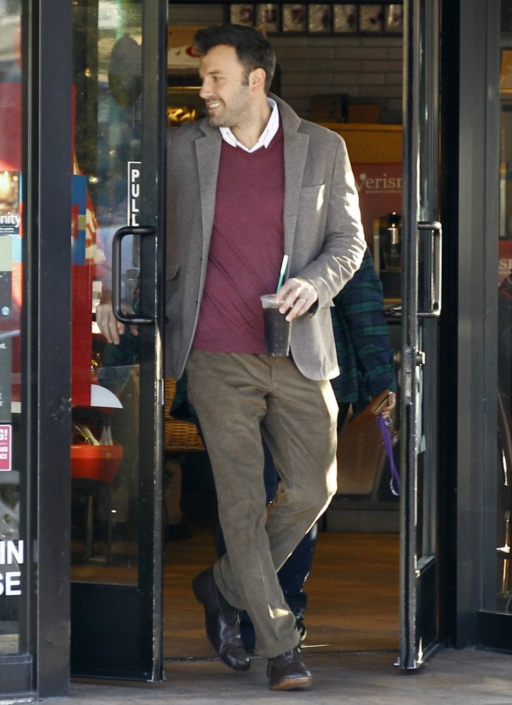 Ben Affleck walked out of Starbucks in Brentwood.