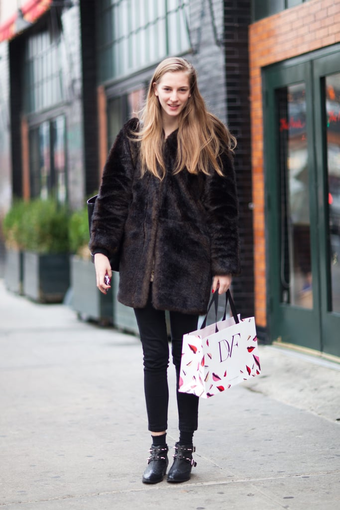 Buckled booties lend more personality than your everyday ankle boots — let them pop with an ankle-crop hem. Source: Adam Katz Sinding