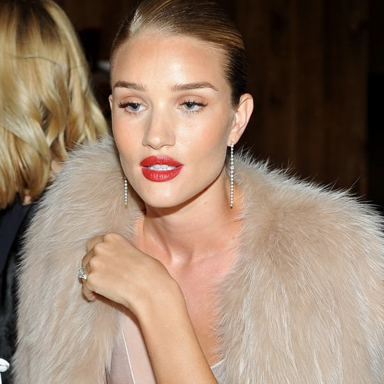 Rosie Huntington-Whiteley Wearing Pink Silk Dress