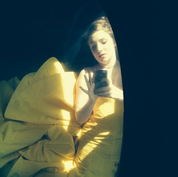 Lena Dunham captured a dramatic shot of her Zac Posen gown from the floor of her car! Source: Instagram user lenadunham