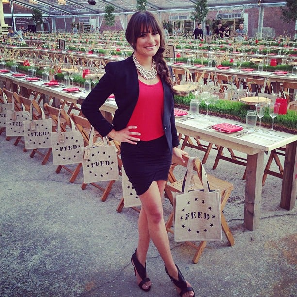 Lea Michele stepped out in a Helmut Lang blazer for the Target's FEED event in NYC. Source: Instagram user msleamichele