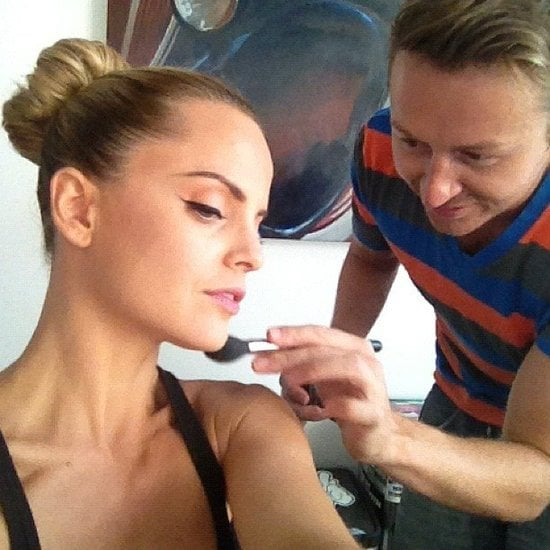 Mena Suvari had her makeup touched up before making her FNO rounds.  Source: Instagram user mena13suvari