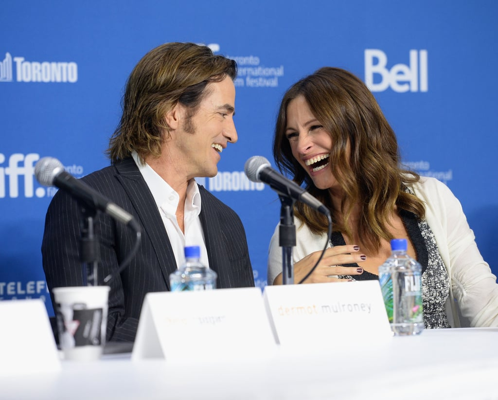 Dermot Mulroney had Julia Roberts laughing out loud at the August: Osage County press conference.