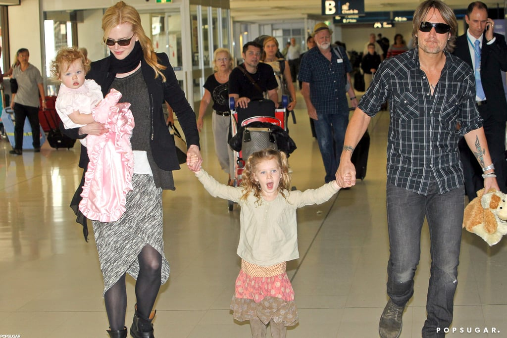 Nicole Kidman and Keith Urban arrived in Sydney with daughters Faith and Sunday during a March 2012 visit to Australia.