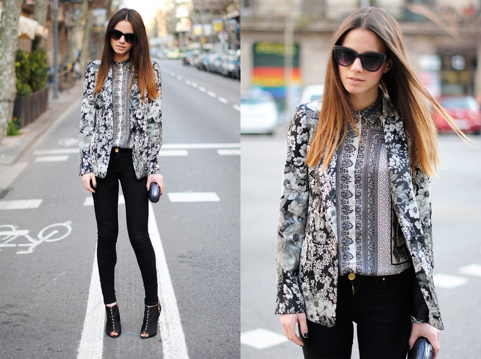 A mismatched black-and-white blazer and blouse combination adds interest to a simple black skinny jean on bottom. Photo courtesy of Lookbook.nu