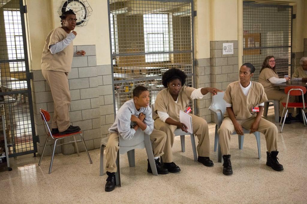 Uzo Aduba, Samira Wiley, Danielle Brooks, and Vicky Jeudy hang out on Orange Is the New Black. Source: Netflix
