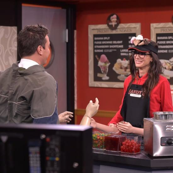 "Sandra Bullock ""Real People, Fake Arms"" Skit on Tonight Show"