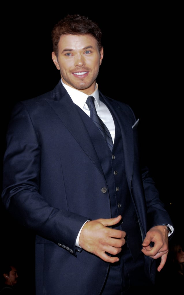 Kellan Lutz smiled in a three-piece suit.