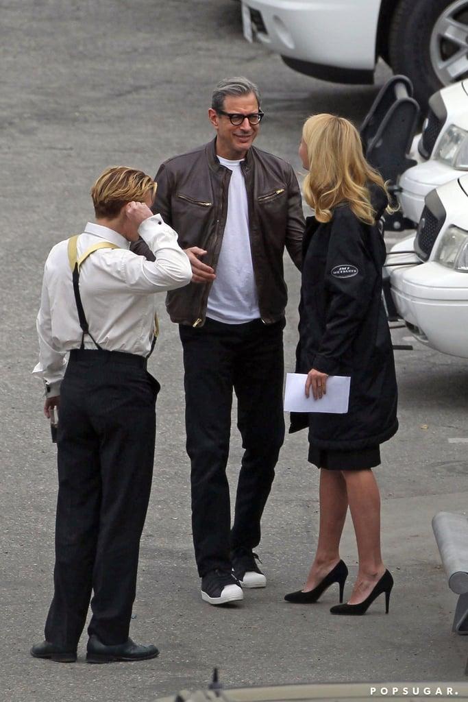Gwyneth looked like she was happy to see Jeff Goldblum.