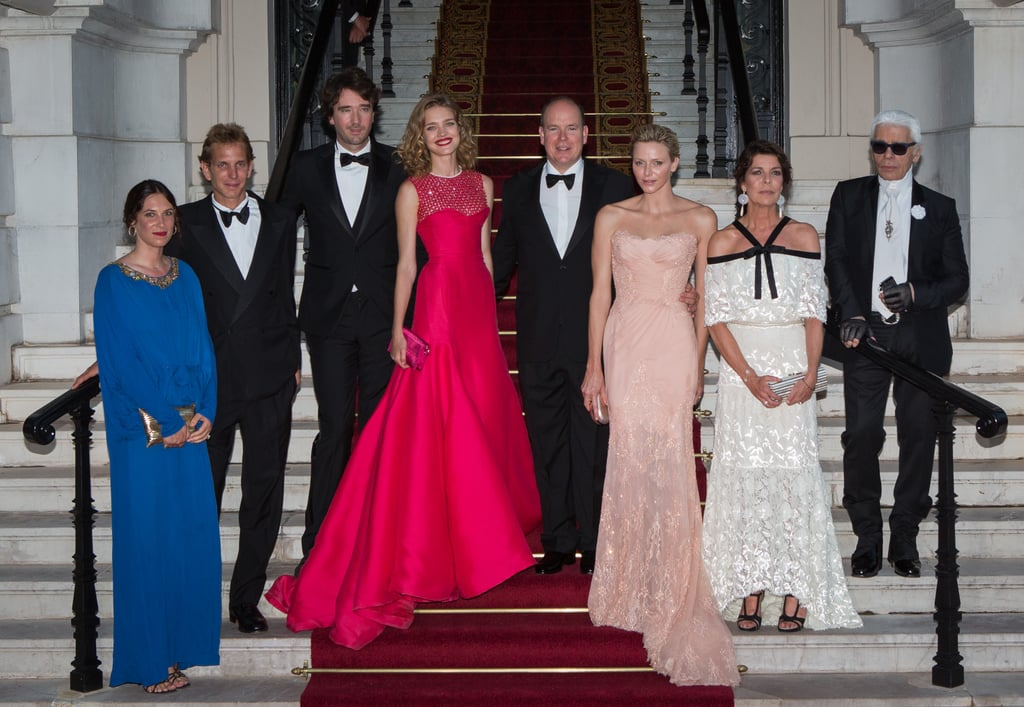 From left, Tatiana Santo Domingo, Andrea Casiraghi, Antoine Arnault, Natalia Vodianova, Prince Albert II of Monaco, Princess Charlene of Monaco, Princess Caroline of Hanover, and Karl Lagerfeld posed at the Love Ball in July 2013.