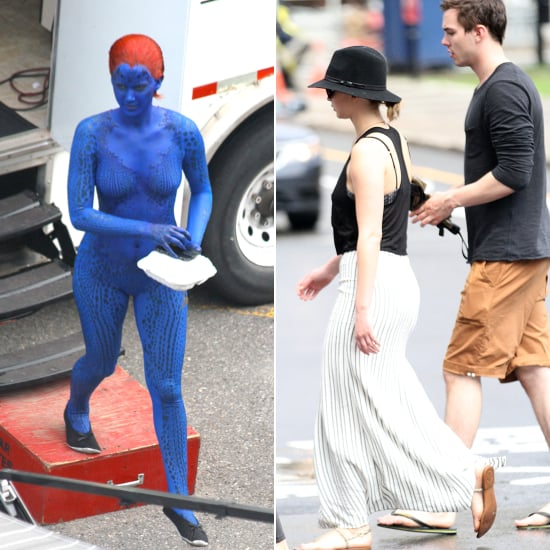 Jennifer Lawrence Goes Nearly Nude on Set, Hangs Out With Her Ex Off