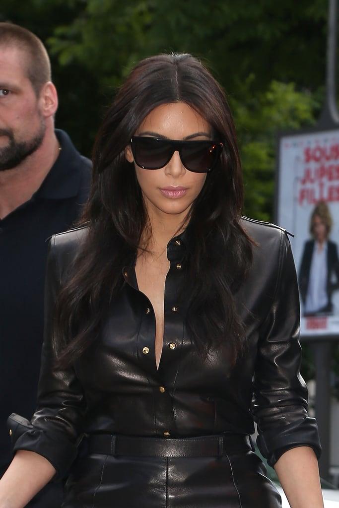 Kim wore a black leather dress during a Thursday errand run.
